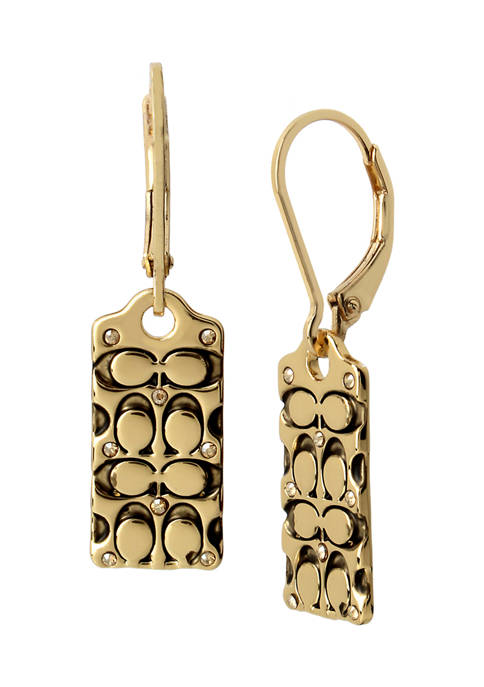 COACH Quilted C Swarovski® Crystals Drop Earrings