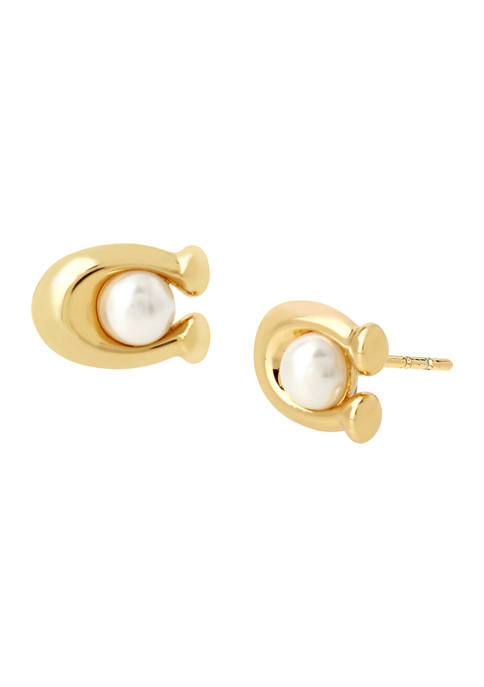 COACH Pearl Signature C Stud Earrings