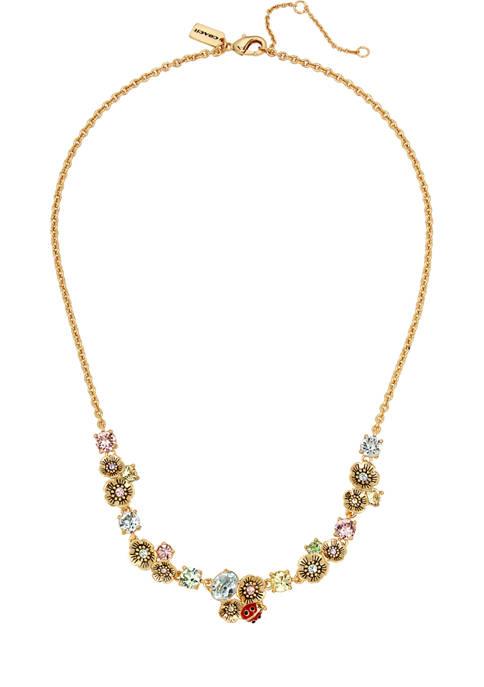 COACH Garden Party Swarovski® Crystals Frontal Necklace