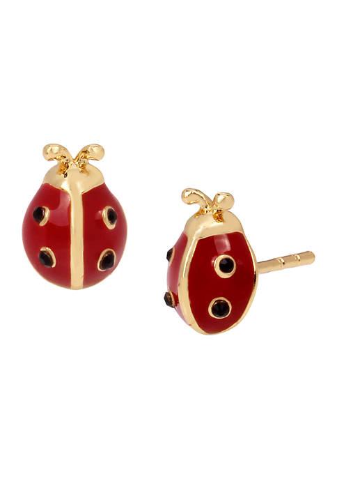 COACH Garden Party Swarovski® Crystals Ladybug Stud Earrings