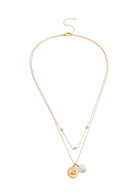 COACH Freshwater Pearl Layered Pendant Necklace