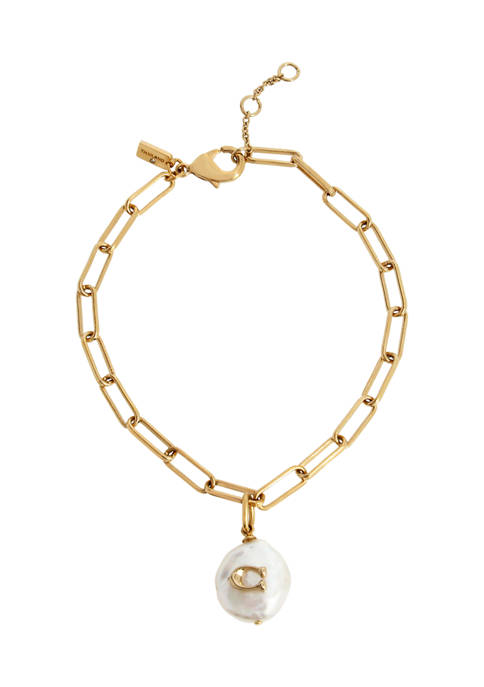 COACH Signature C Freshwater Coin-Pearl Bracelet