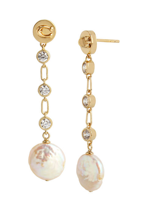 COACH Freshwater Pearl Linear Earrings