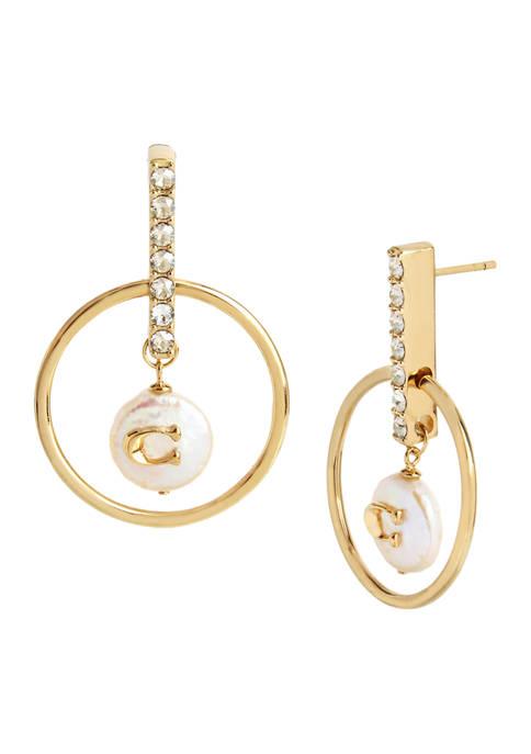 COACH Freshwater Pearl Orbital Earrings