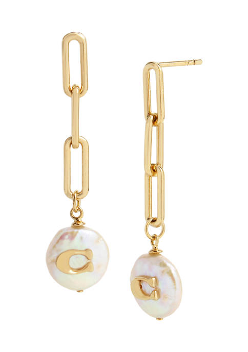 COACH Signature C Freshwater Coin-Pearl Linear Earrings