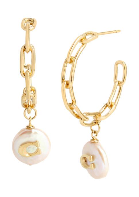 COACH Signature C Freshwater Coin-Pearl Hoop Earrings