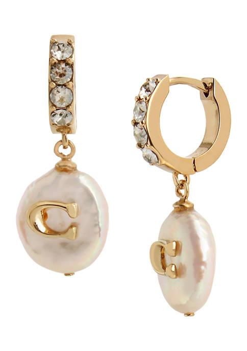 COACH Freshwater Pearl Huggie Earrings