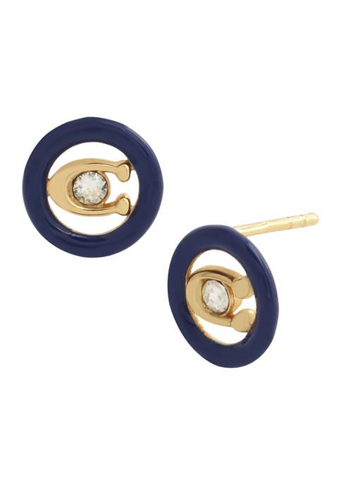 COACH Signature C Enamel Stud Earrings