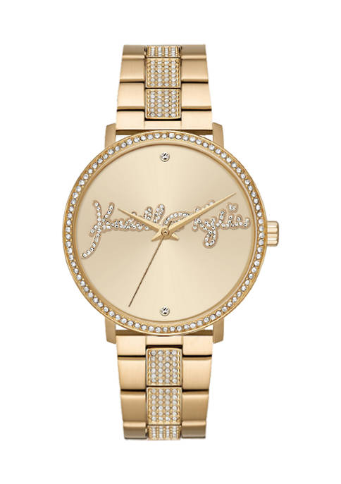 Gold Tone Metal Analog Watch with Bedazzled Logo