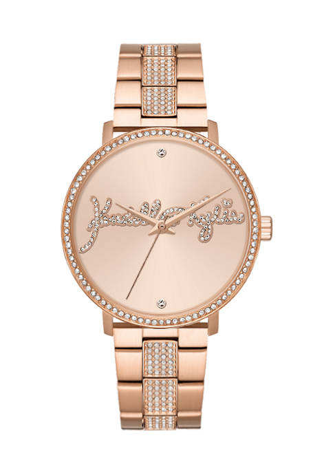 Rose Gold Tone Metal Analog Watch with Bedazzled Logo