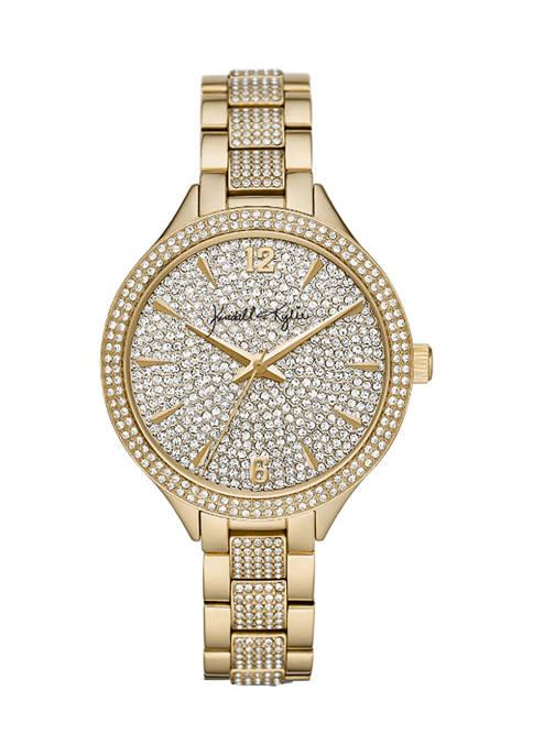 Gold Tone Stone Embellished Analog Watch