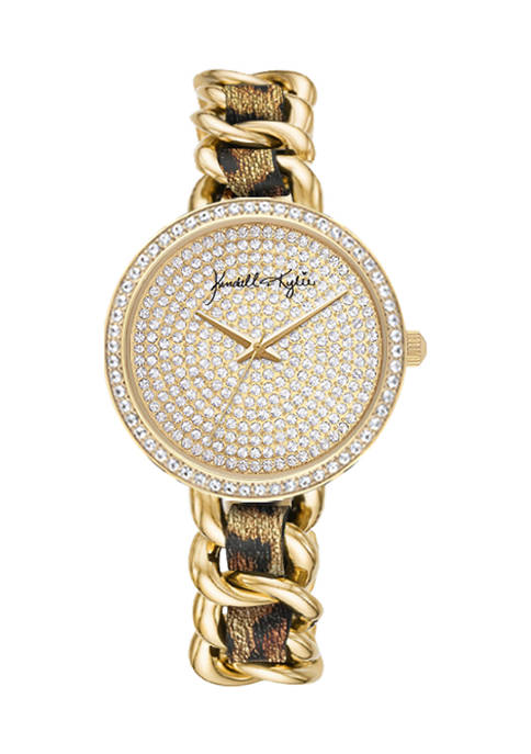 Gold Tone Metal and Braided Vegan Leather Leopard Print Analog Watch