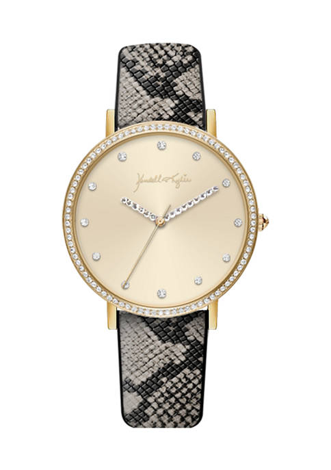 Gold Tone Analog Watch with Watercolor Gray Vegan Snakeskin Strap