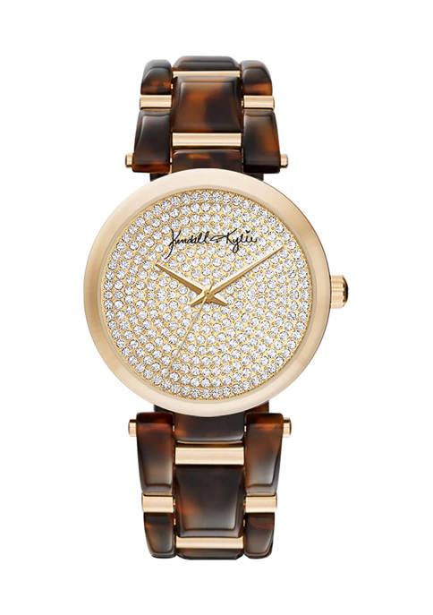 Brown Tortoise Link Analog Watch with Gold Tone Accents