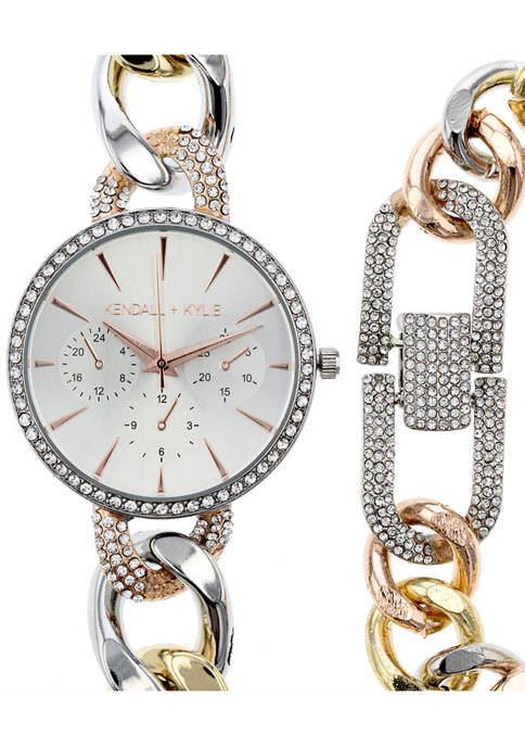 KENDALL + KYLIE Large Open-Link Tri-Tone Metal Mock-Chronograph