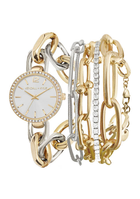 KENDALL + KYLIE Dainty Two-Tone Chain Link Analog