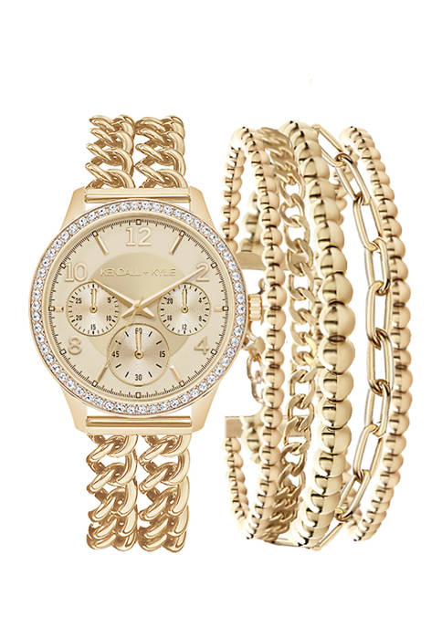KENDALL + KYLIE Gold Tone Double Strap Analog
