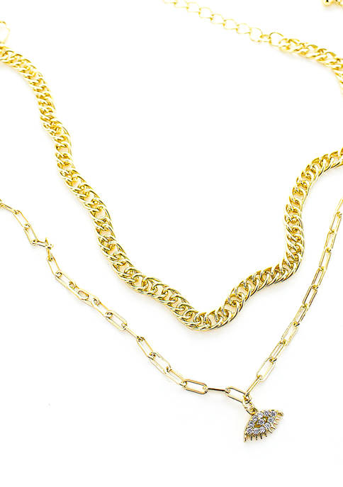 evie & emma Gold Plated Evil Eye Chain