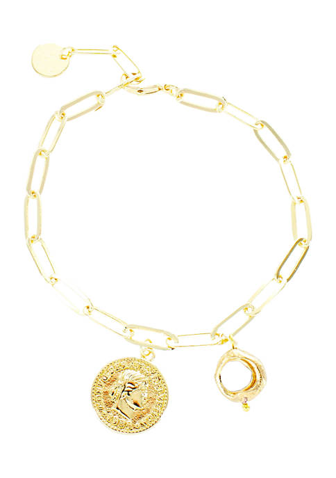 evie & emma Gold-Tone Link Coin and Pearl