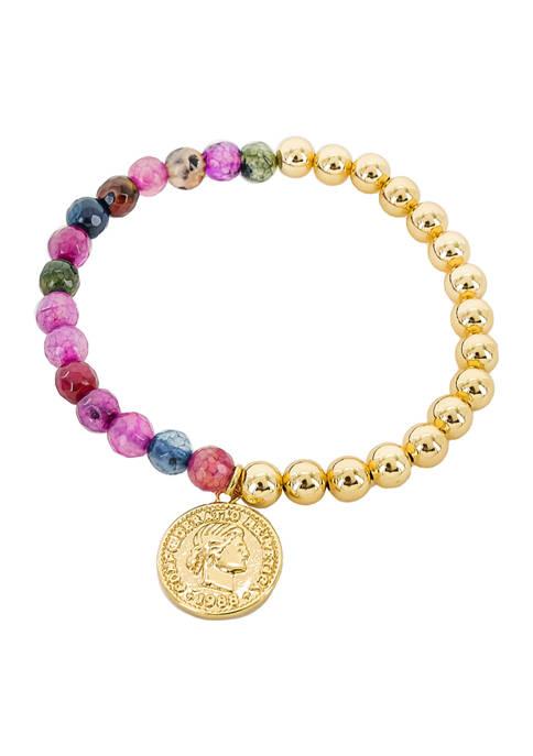 evie & emma Multi Stone Gold Bead Coin