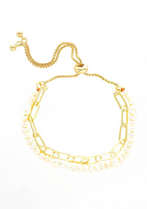 evie & emma Pearl Gold-Tone Link Slide Bracelet