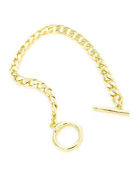 evie & emma Gold-Tone Curb Chain Toggle Bracelet