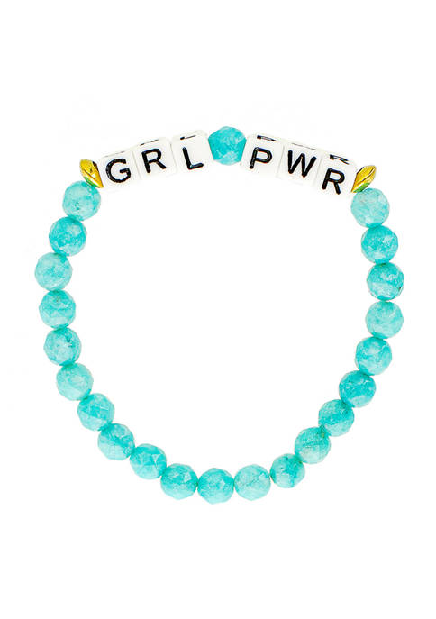 Turquoise Bead Girl Power Bracelet