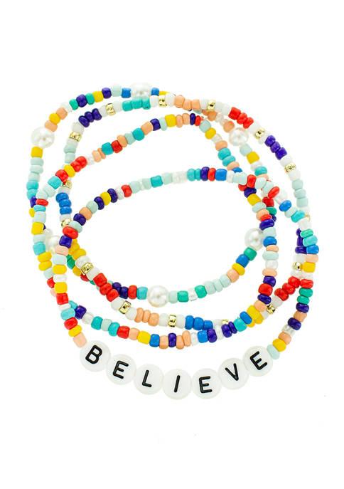 evie & emma Multi Bead Believe Stretch Bracelet
