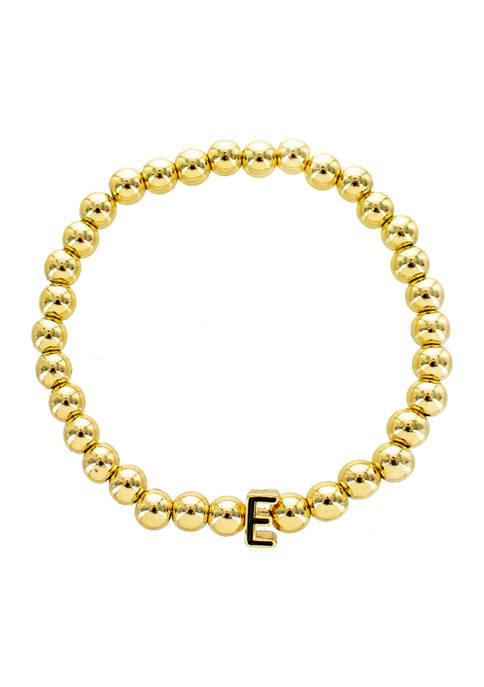 Black E Gold Beaded Stretch Bracelet