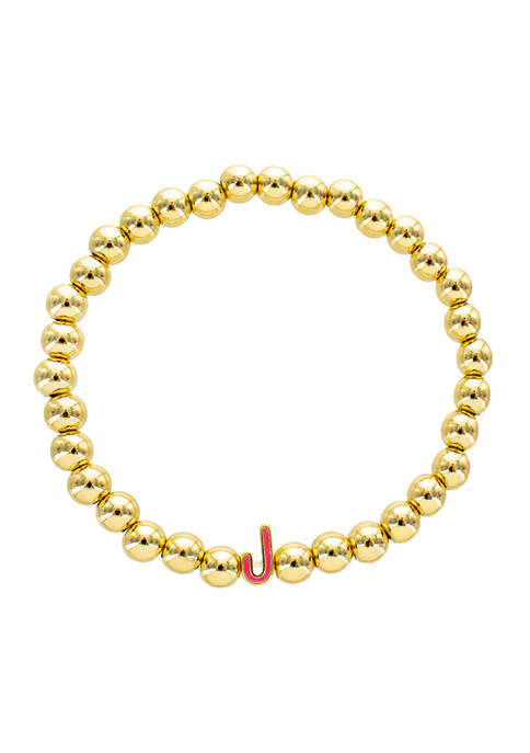 Pink J Gold Bead Stretch Bracelet