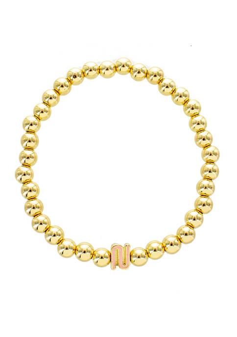 evie & emma Blush N Gold Beaded Stretch
