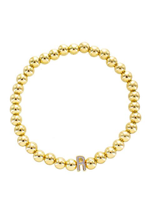 Lavender R Gold Beaded Stretch Bracelet
