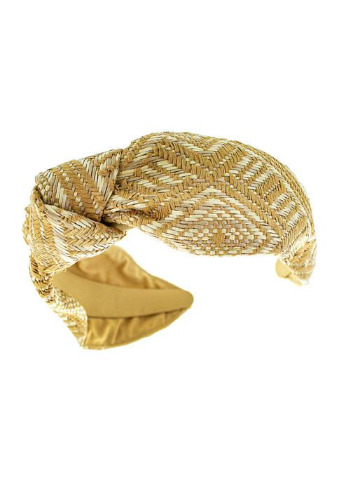 evie & emma Woven Raffia Printed Headband