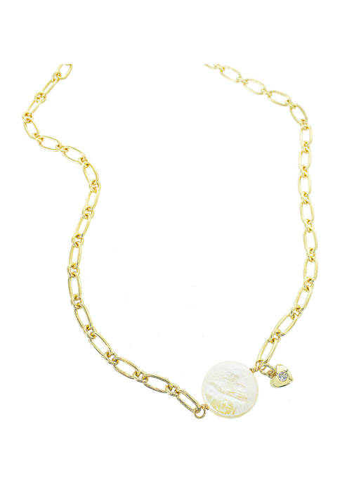 evie & emma Gold Link Pearl Center Necklace