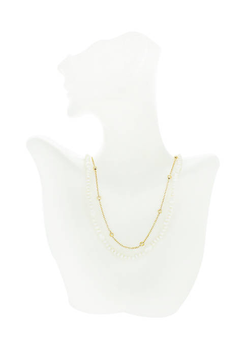 evie & emma Gold Plated Pearl Two Row