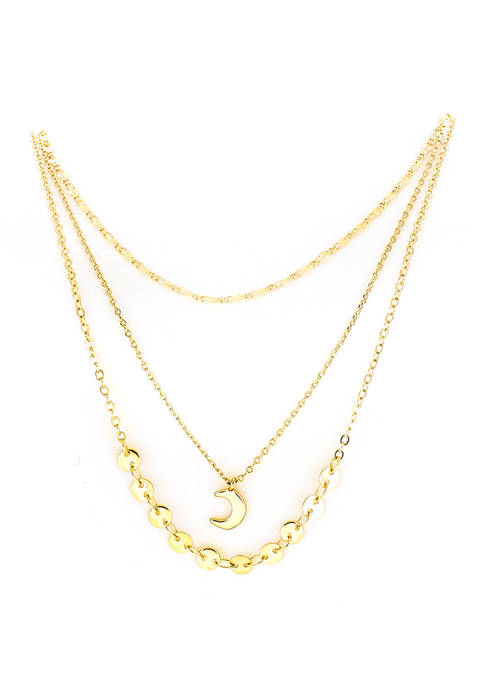 evie & emma Gold Layered Necklace with Lightning