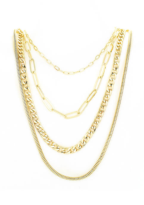 evie & emma Gold Plated Layered Long Necklace