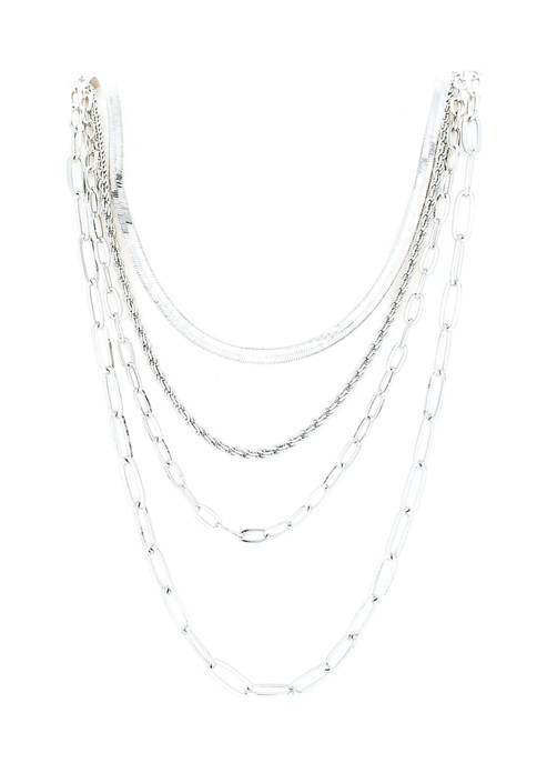 evie & emma Rhodium Plated Layered Long Necklace