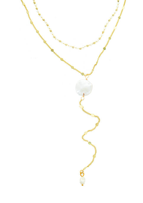 evie & emma Pearl Circle Layered Y-Necklace