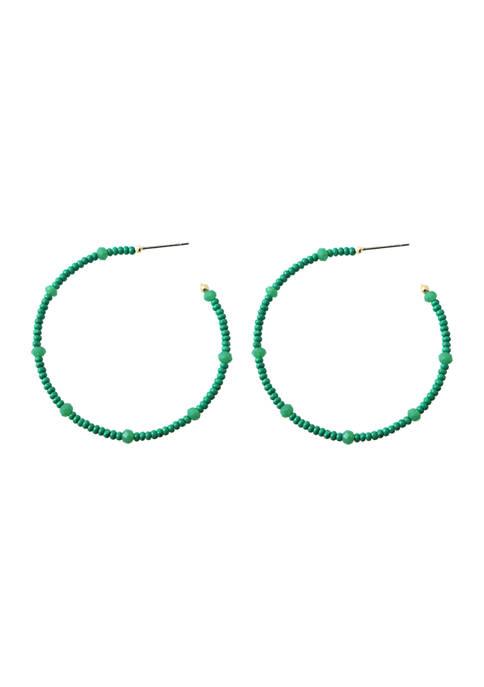 evie & emma Gold Tone Green Beaded Hoop