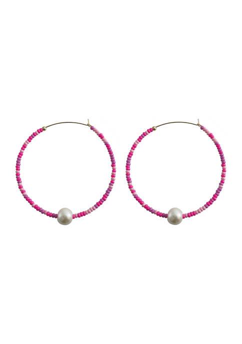 evie & emma Gold Tone Pink Beaded Hoop