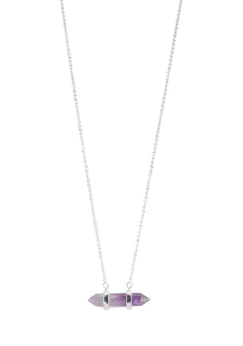 Fine Silver Plated Amethyst Pendant Necklace