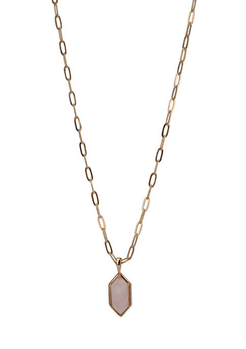 Rose Quartz Pendant Necklace in Gold Tone Plated Silver