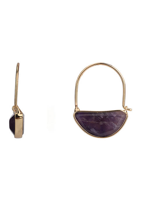 Threader U-Hoop Drops with Amethyst Stone in Gold Tone Plated Silver