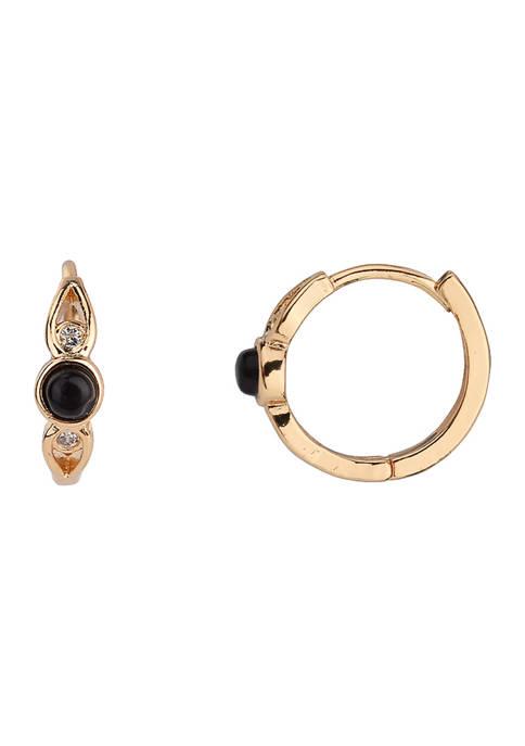 Huggie Hoop Earrings with Black Onyx Stones in Gold Tone Plated Silver