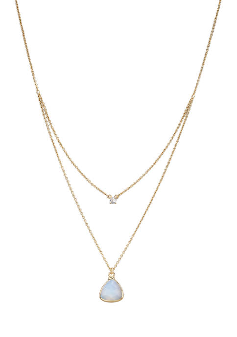 Gold Tone Fine Silver Plated Two Row Opal Pendant Necklace
