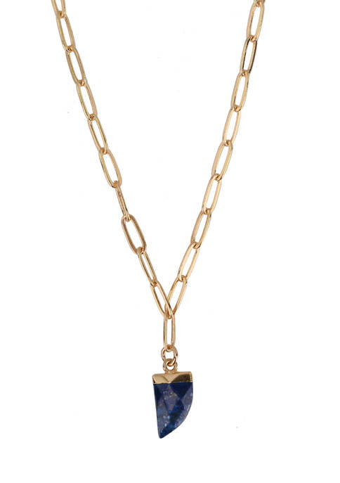 Lapis Stone Pendant Necklace in Gold Tone Plated Silver