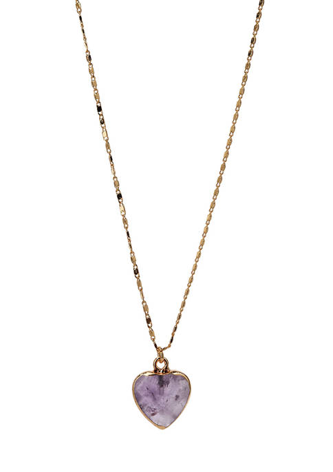 Amethyst Heart Pendant Necklace in Gold Tone Plated Silver