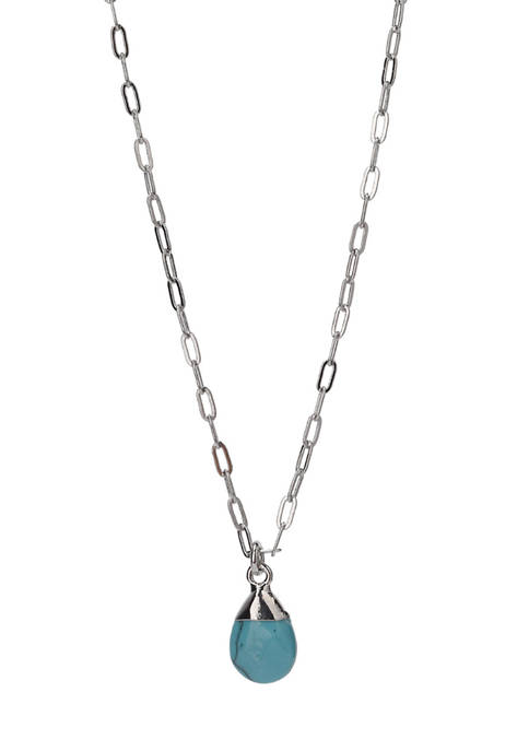 Fine Silver Plated Turquoise Pendant Necklace