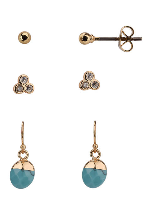 Trio Earring Set with Turquoise and Cubic Zirconia Stones in Gold Tone Plated Silver